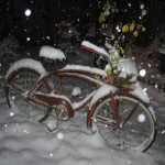 Winter wonderland in our backyard. I love this bike in all kinds of weather!