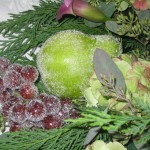Sparkle fruit!  My pride and joy of this Christmas -- I used real fruit and craft store sparkles to make the dining room shine in an old-fashioned holiday look.